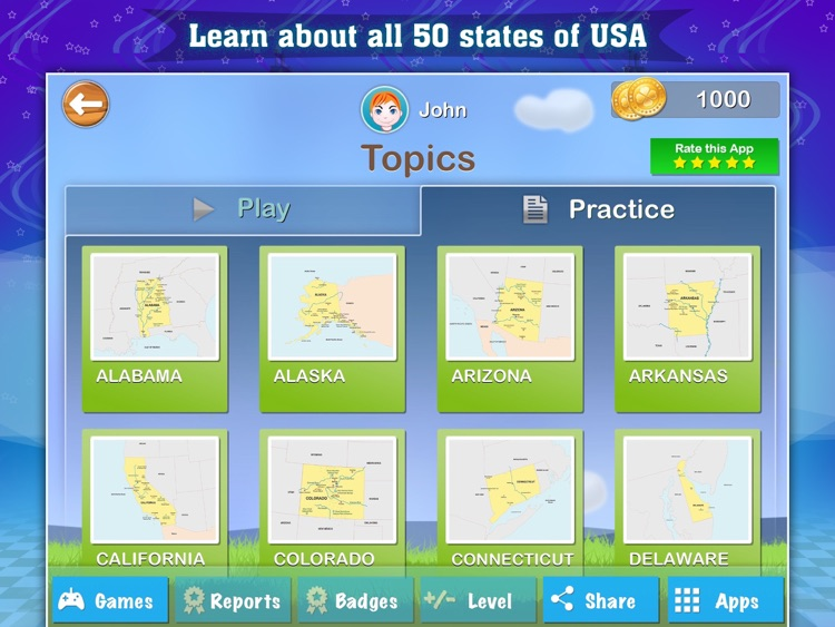 Geography of the United States of America: Map Learning and Quiz Game for Kids [Lite]