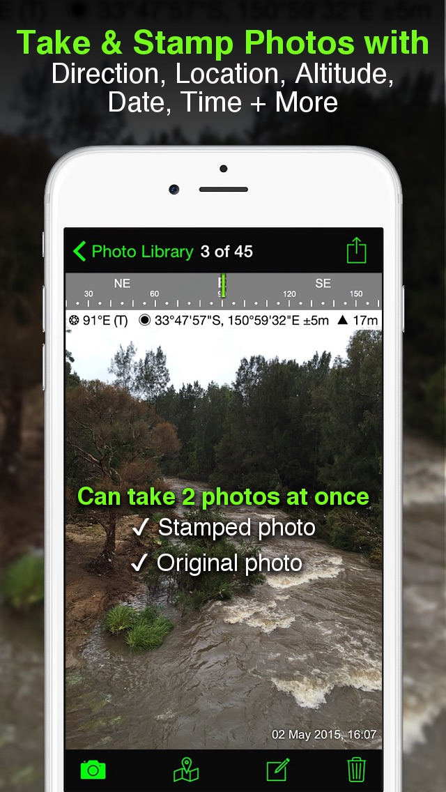 Solocator - GPS Field Camera to stamp photos with location, direction, altitude, date, time + optional editable notes Screenshot