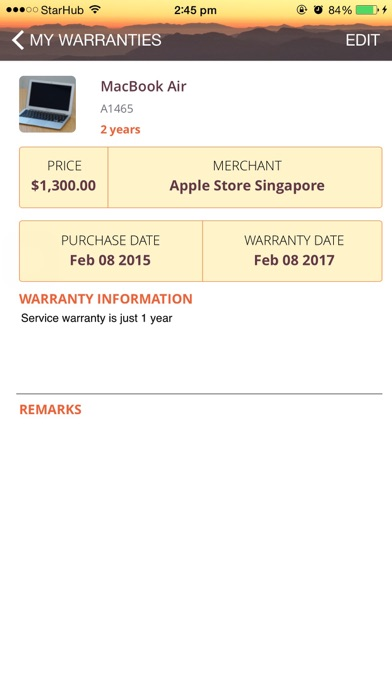 Warranty App screenshot three
