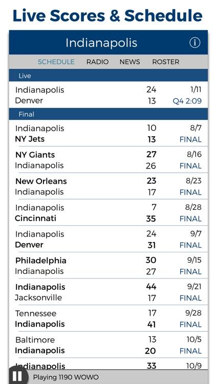 Indianapolis Football Radio & Live Scores