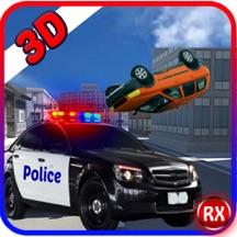 警车与窃贼驾驶的赛车与 - 抓捕劫匪被警察值班人员