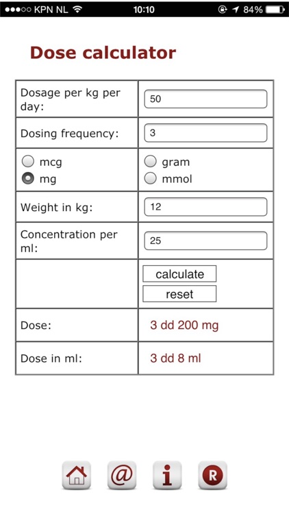 Pediatric dosage calculator