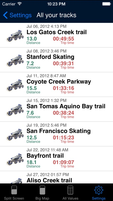 Screenshot for iSkate - GPS skating computer for inline and roller skates in Czech Republic App Store