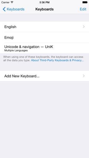 UniK - Unicode & navigation Keyboard extension on the App Store