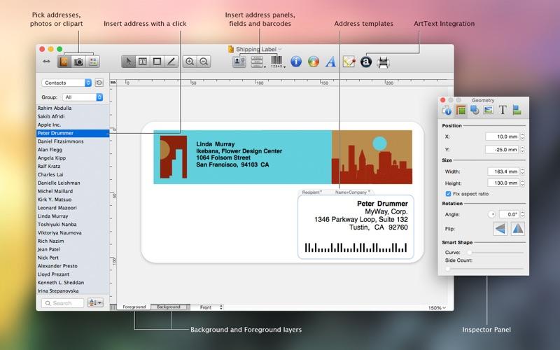 Labels and Addresses Screenshot