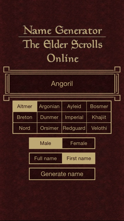 Name Generator for The Elder Scrolls Online