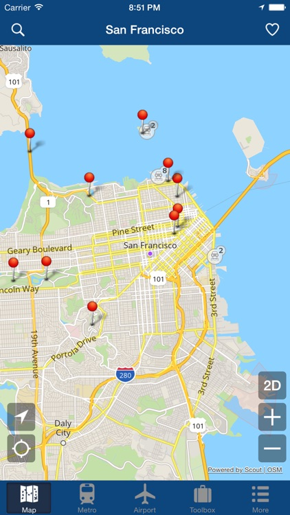 San Francisco Offline Map City Metro Airport By Green Lake