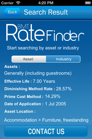 Screenshot of BMTratefinder