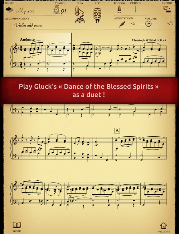 Play Gluck – Orpheus and Eurydice « Danse of the Blessed Spirits » (interactive sheet music)