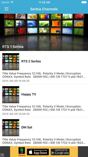 Serbia TV Channels Sat Info on the App Store