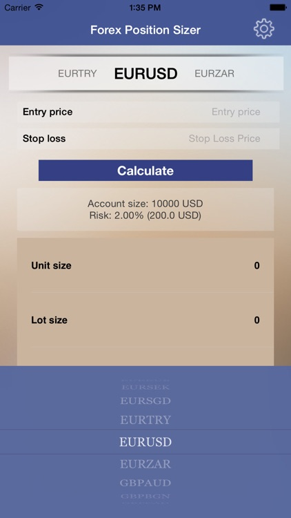 FX Trade Sizer - Forex trading position size and pip value calculator for the day trader
