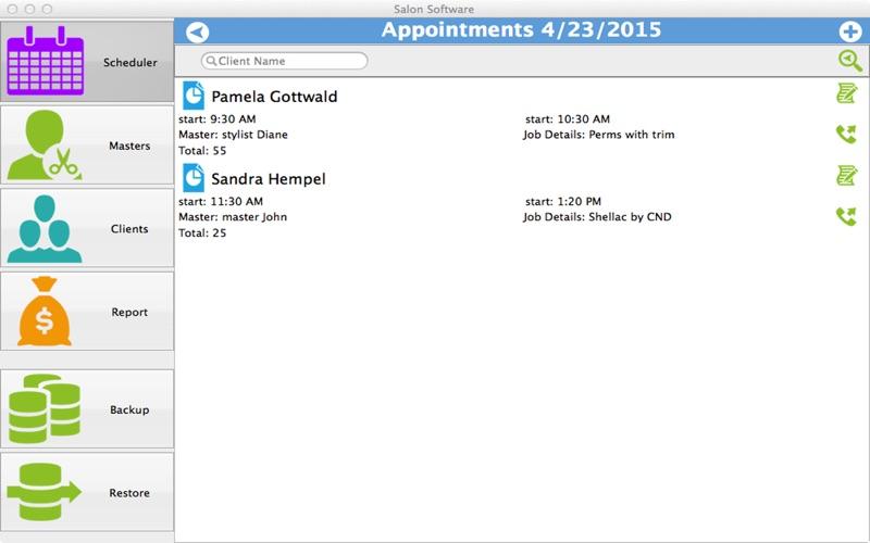 Salon Software Screenshots