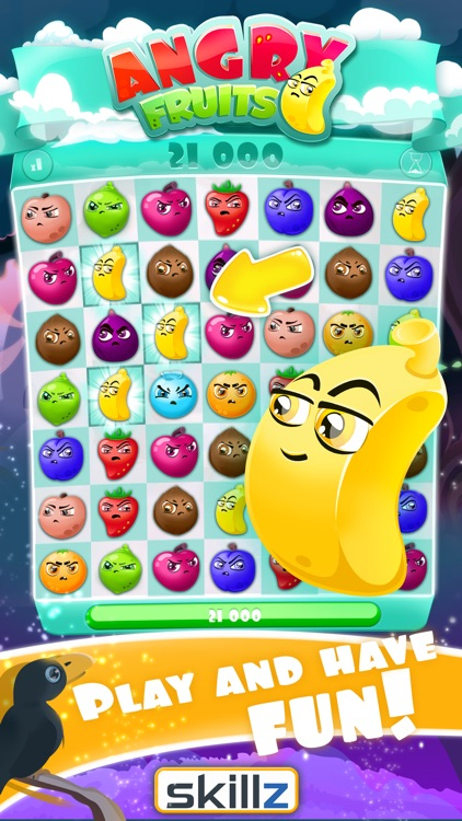 Angry Fruits 1 VS 1 Puzzle : Real Money Gaming