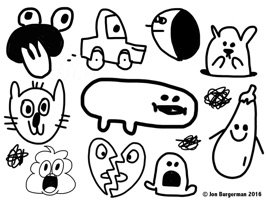 Over 30 fully animated, funny, cute, cool, silly stickers by world famous doodle artist and lover of salads Jon Burgerman