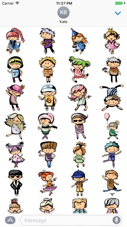 Cartoon Kids Emoji Sticker for iMessage #4