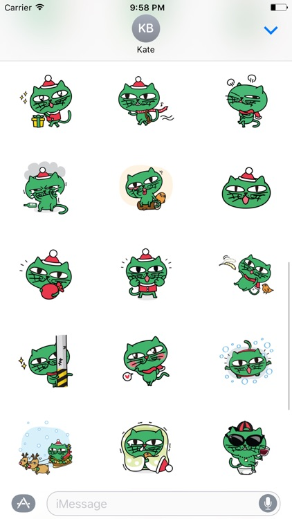 Greeny The Cat - Christmas stickers pack screenshot-3