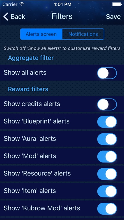 Alerts for Warframe