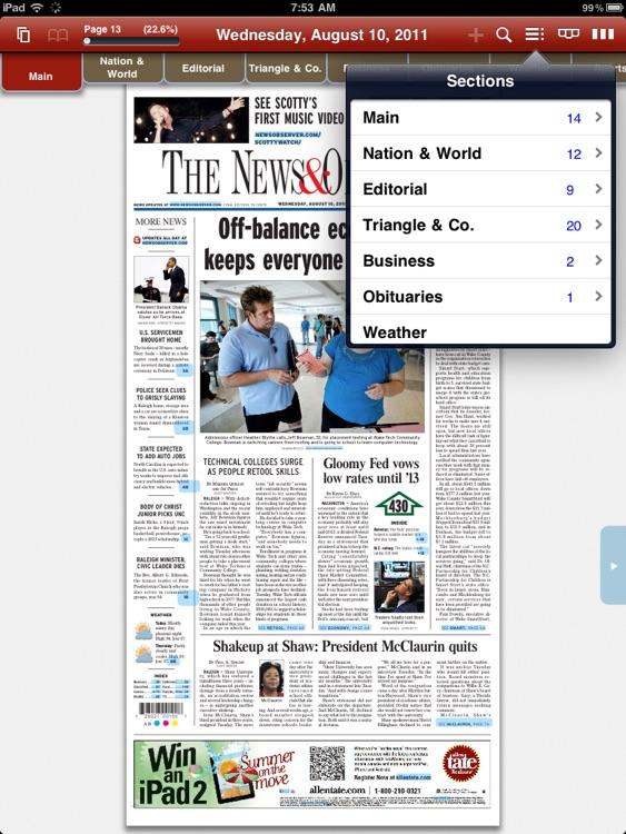 News & Observer e-edition