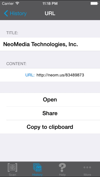 NeoReader®-QR&BarcodeScanner Screenshot on iOS
