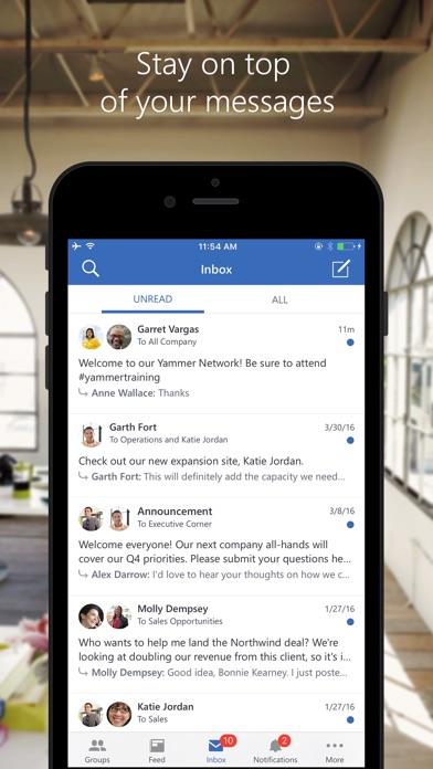 Yammer review screenshots