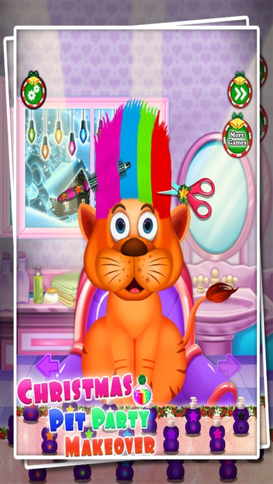 Christmas Pet Party Hair Salon - Spa Makeover Game