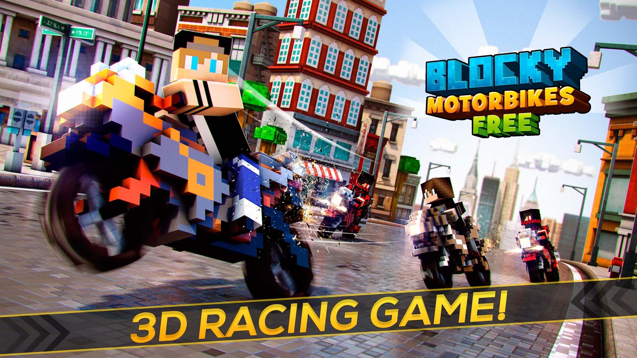 Blocky Motorbikes . Crazy GP Motorbike Racing Game Screenshot
