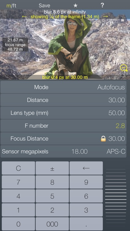 Focus / DOF hyperfocal calculator depth of field