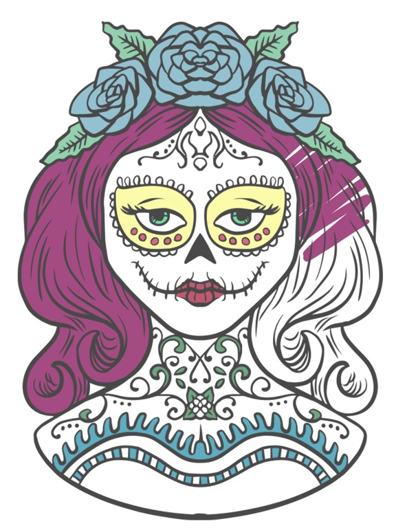 Sugar Mexican skull - Coloring book for adults | App Price Drops