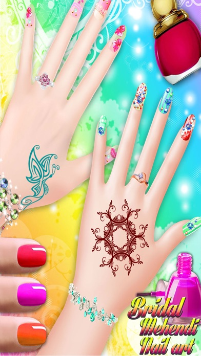Bridal Mehndi and Nail Art - Manicure mehndi designer games for girls