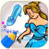 Paint Cinderella drawing in princess coloring book