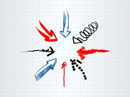Express yourself more clearly with this original set of hand drawn arrows