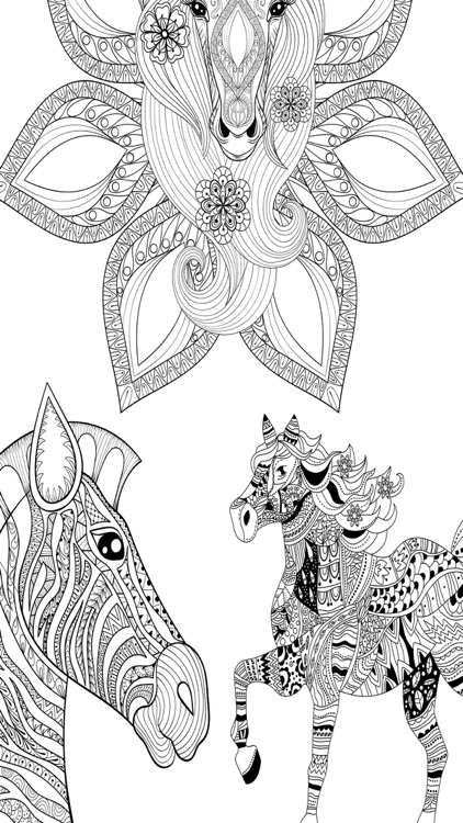 Mandalas Horses - Coloring pages for adults by Valenapps