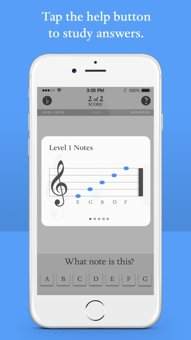 Screenshot for Blue Note: Learn to read music notes - Flash Cards in United States App Store