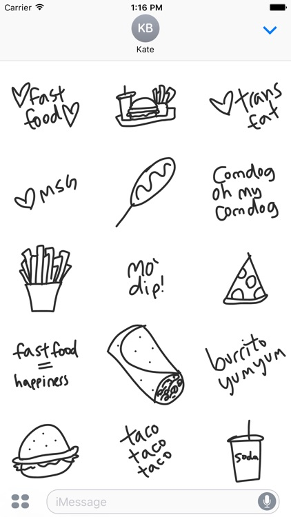 Fast food sticker pack, junk stickers for iMessage