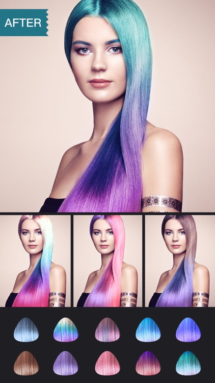 Hair Color Dye -Switch Hairstyles Wig Photo Makeup app image