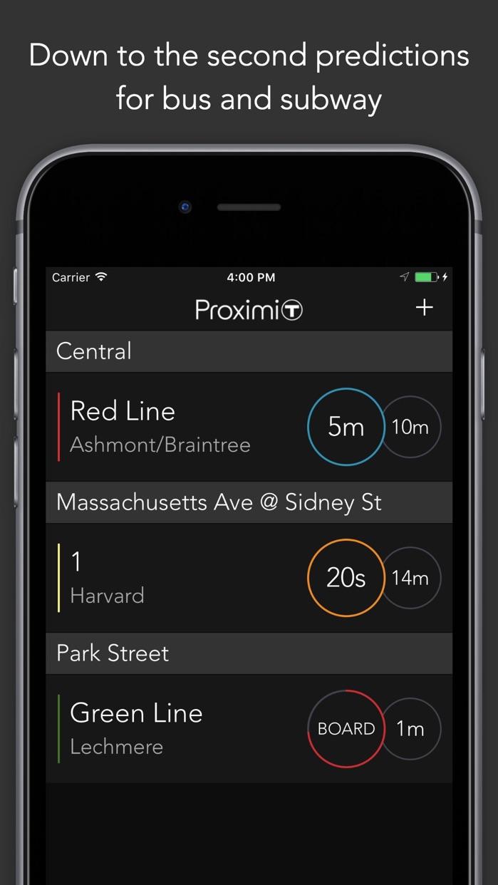 ProximiT - Boston MBTA Tracker for Bus and Subway Screenshot