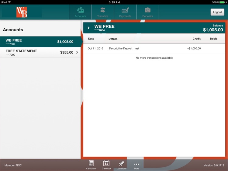 Westfield Bank for iPad