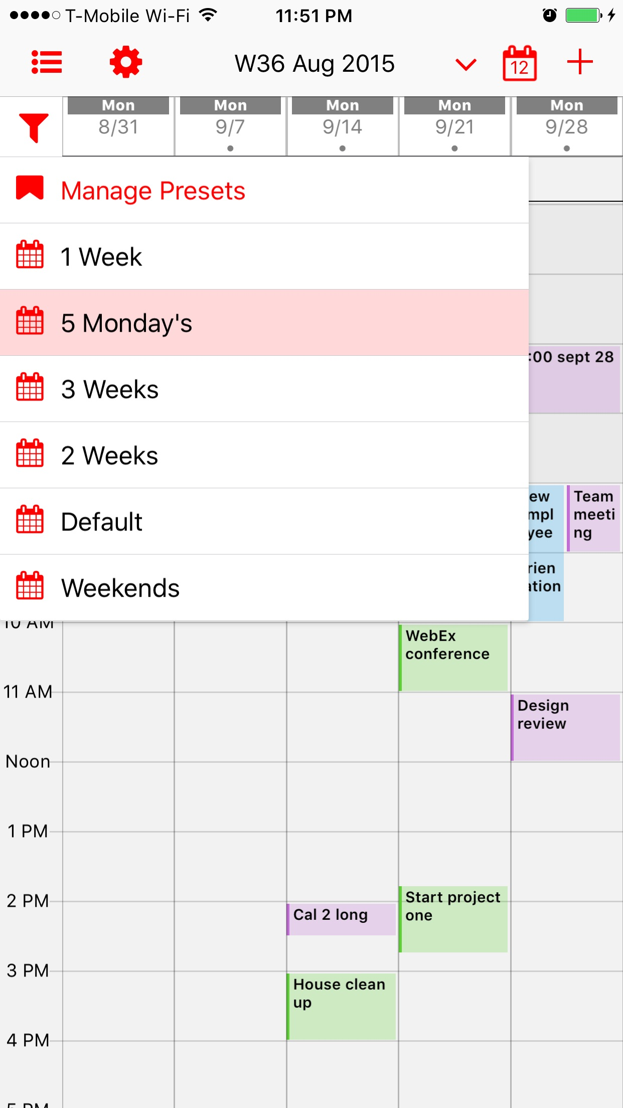 Screenshot do app Week Calendar Pro