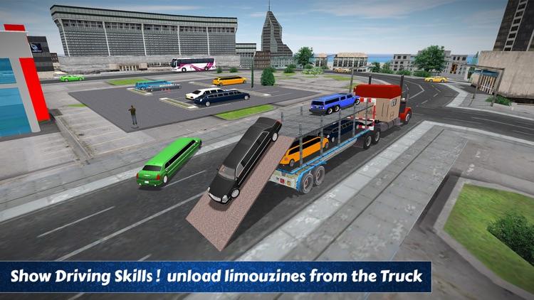 Limo Car Transporter Trailer Truck 3D screenshot-3
