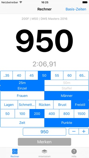 SwimX Pro - FINA Punkte-Rechner fürs Schwimmen Screenshot