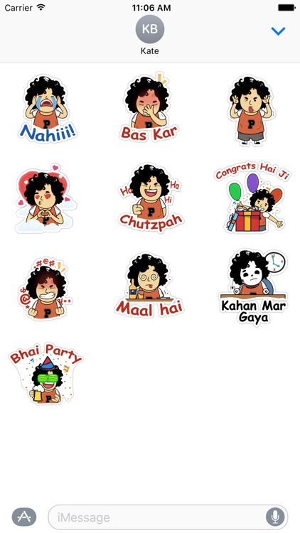 Face expressions friendship Indian desi stickers