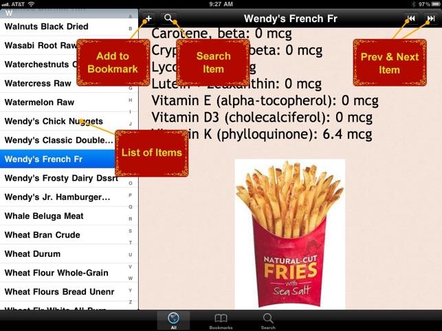 food vitamin index list 1800 on the app store