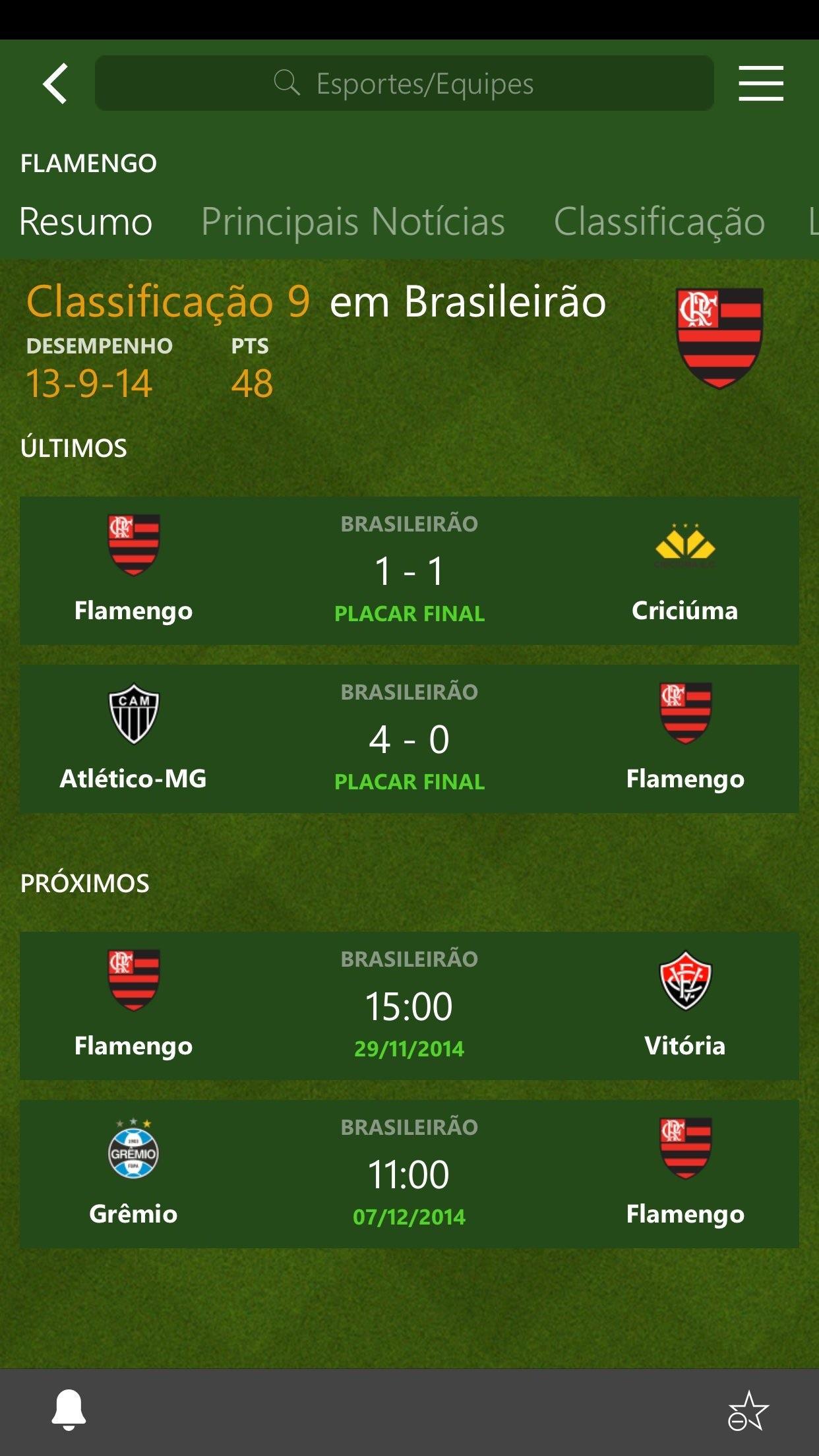 Screenshot do app MSN Esportes