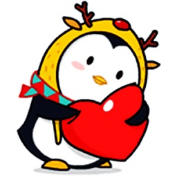 Merry Christmas Penguin - Animated Stickers