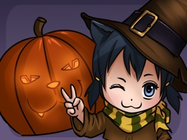 Celebrate Halloween with this cute Chibi style catgirl character and her lively emotions