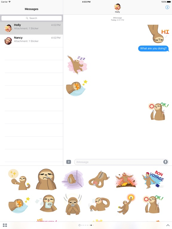 Andy the Sloth - Lazy Stickers-ipad-0