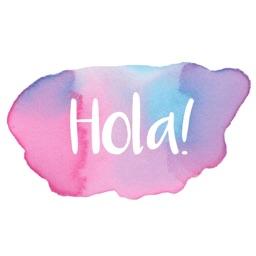 Hola - Mensajes en Acuarela Stickers de Maraquela