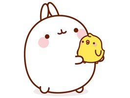 Molang is a happy, curious rabbit who lives with his friend PiuPiu, a sensitive and shy little chick