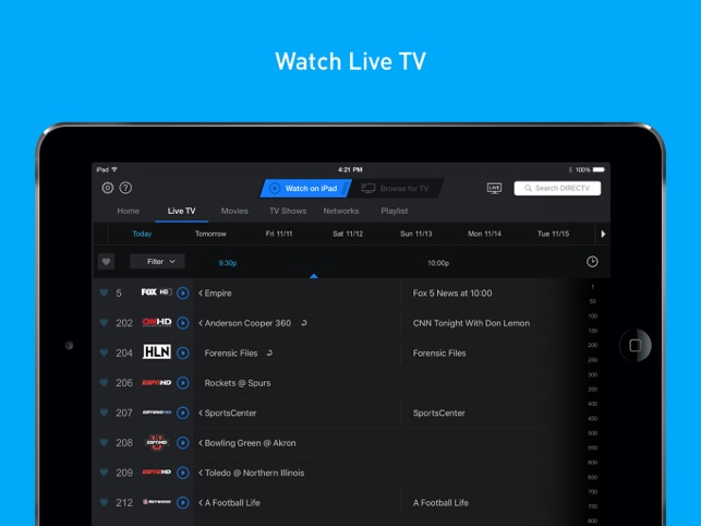 DIRECTV App for iPad 4+