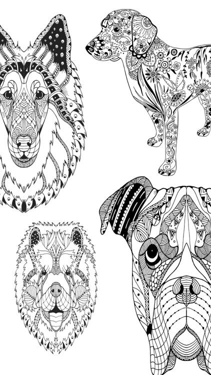 Mandalas dog Coloring for adults - Premium screenshot-3